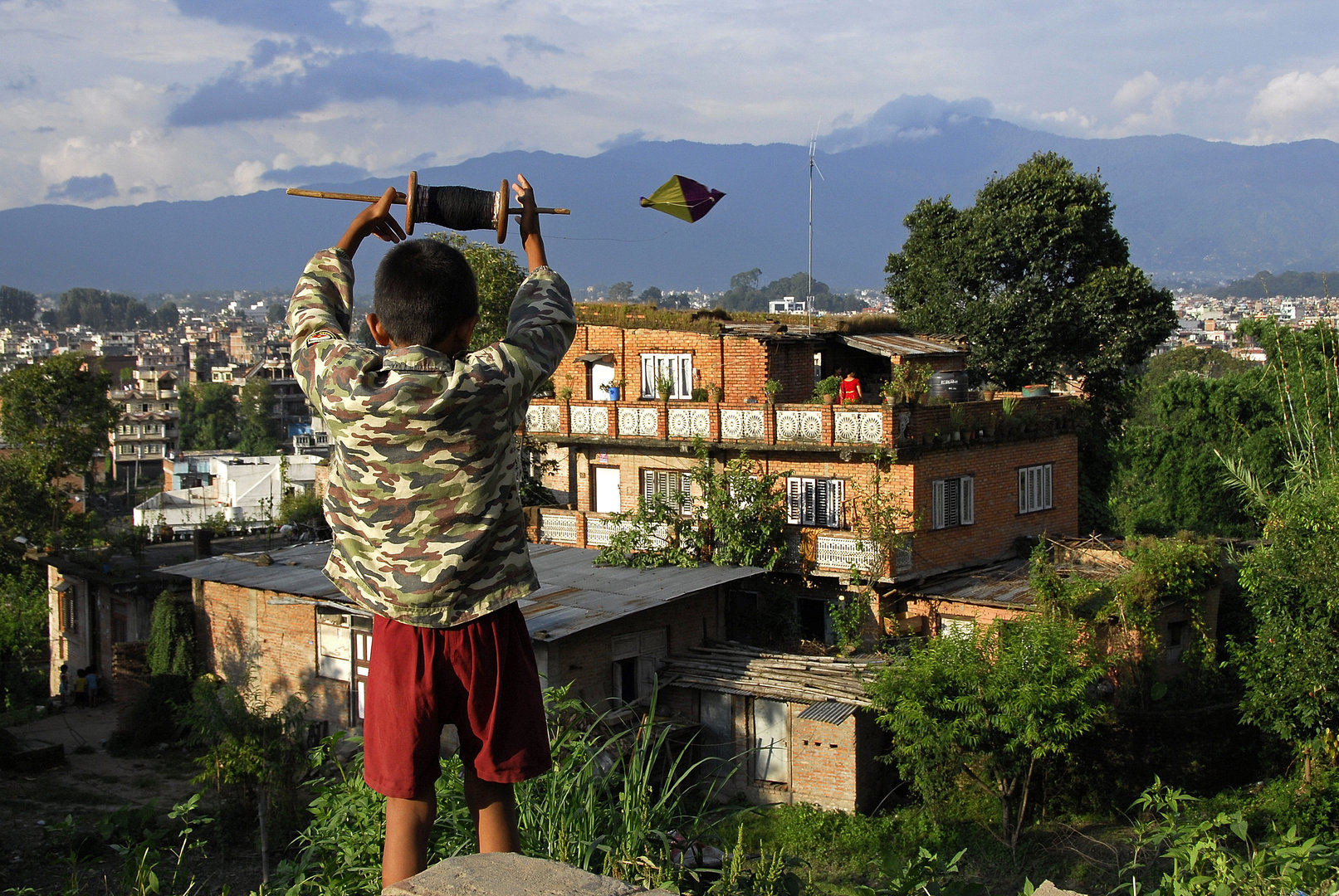 Flying kite in Kathmandu Valley
