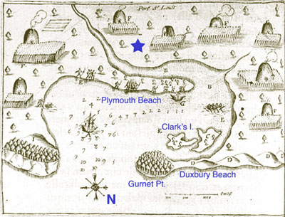 Champlain Map of Plymooouth Hardbor annotated