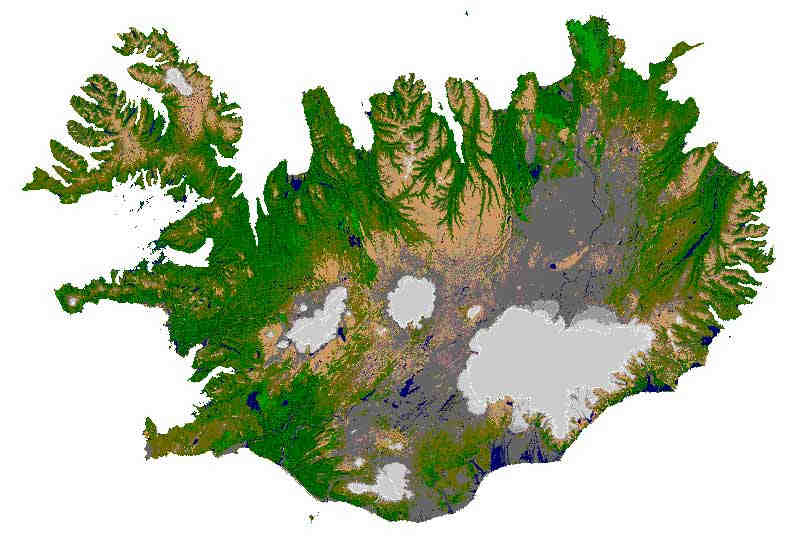 Overhead map of ICeland.  White spots are glaciers.