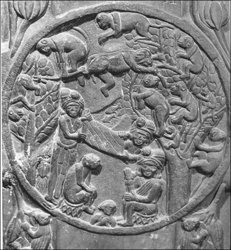 Monkey jataka in relief