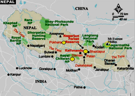 Nepal Map mountain ranges
